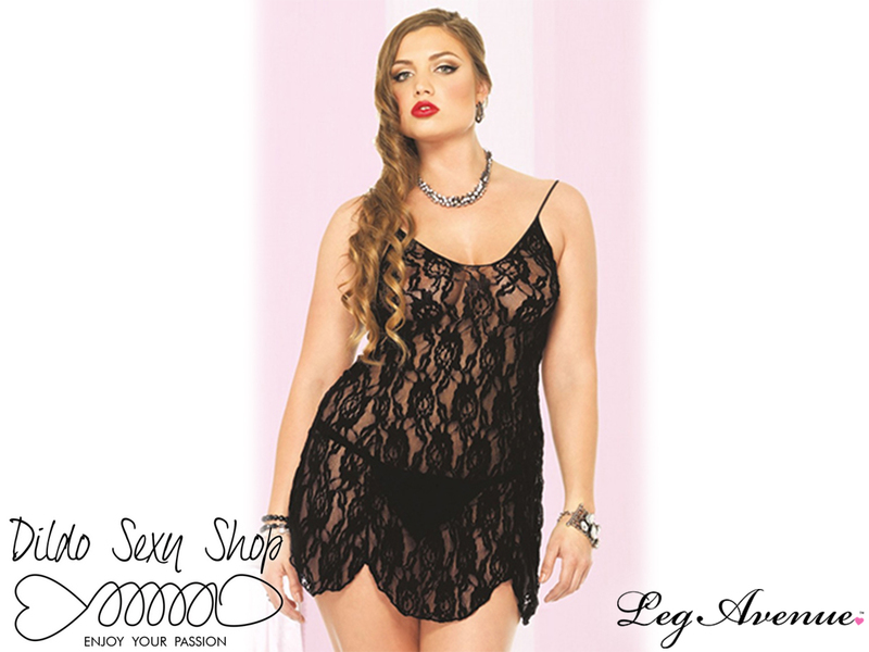 Babydoll Intimo Sexy Sensuale Rose Lace Flair Black Taglia Plus-Size