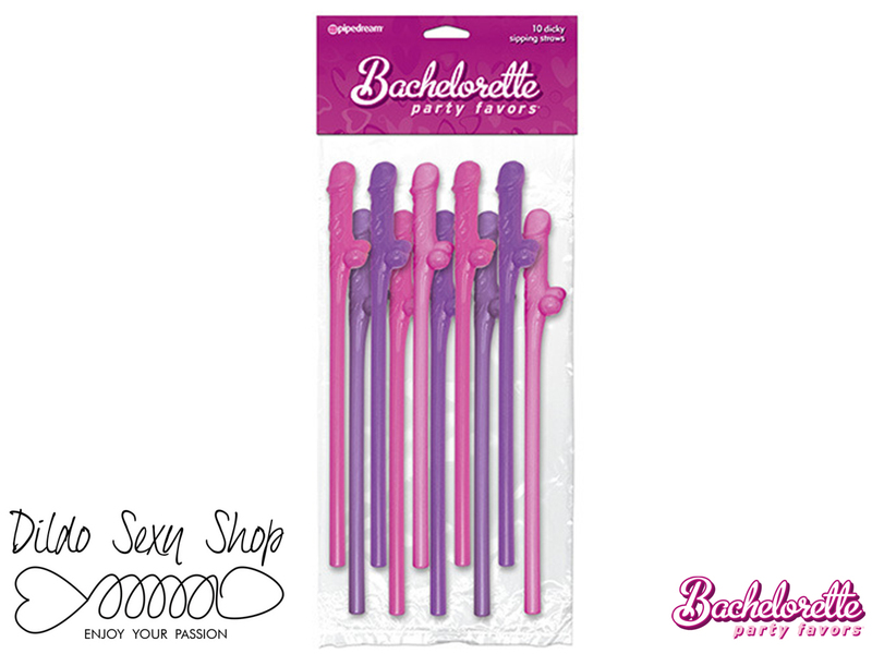 Cannucce Con Pene Dildo Party Dicky Sipping Straws Pink/Purple 10