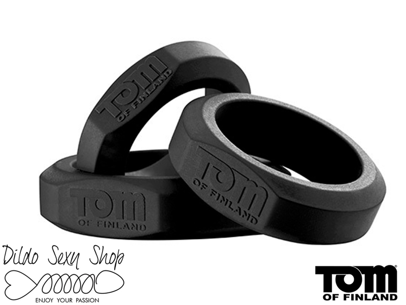 Set Anelli Fallici Tom Of Finland 3 Cock Ring Silicone Nero
